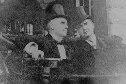 This is one of the last photos taken of U.S. President William McKinley on the day he was shot, September 6, 1901.  It shows him, left, with John G. Milburn, right, President of the Pan American Exposition, leaving Niagara Falls, N.Y., to return to Buffalo and the reception at which he was shot. (AP Photo)