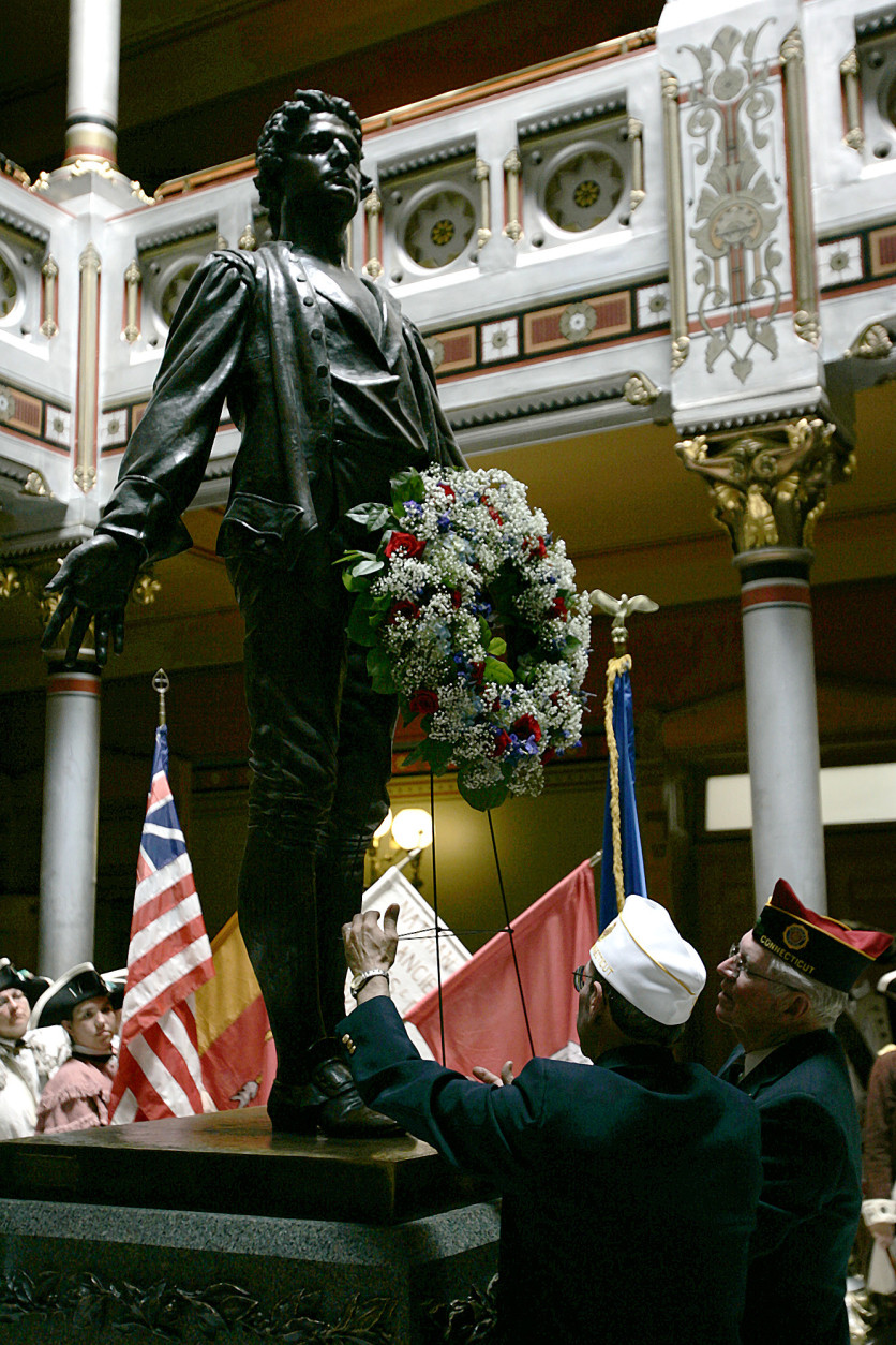 On this date in 1776, during the Revolutionary War, Capt. Nathan Hale, 21, was hanged as a spy by the British in New York. Here, a statue of Hale is seen at the state Capitol in Hartford, Conn.  Hale was a Connecticut native and Yale University graduate. (AP Photo/Bob Child)