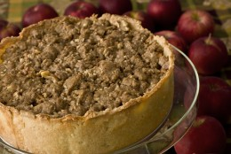 This photo taken Oct. 5, 2009 shows a Dutch Apple Pie. If a recent trip to the orchard left you with more apples than you have plans for this deep-dish style Dutch Apple Pie will bake a good home for them. (AP Photo/Larry Crowe)