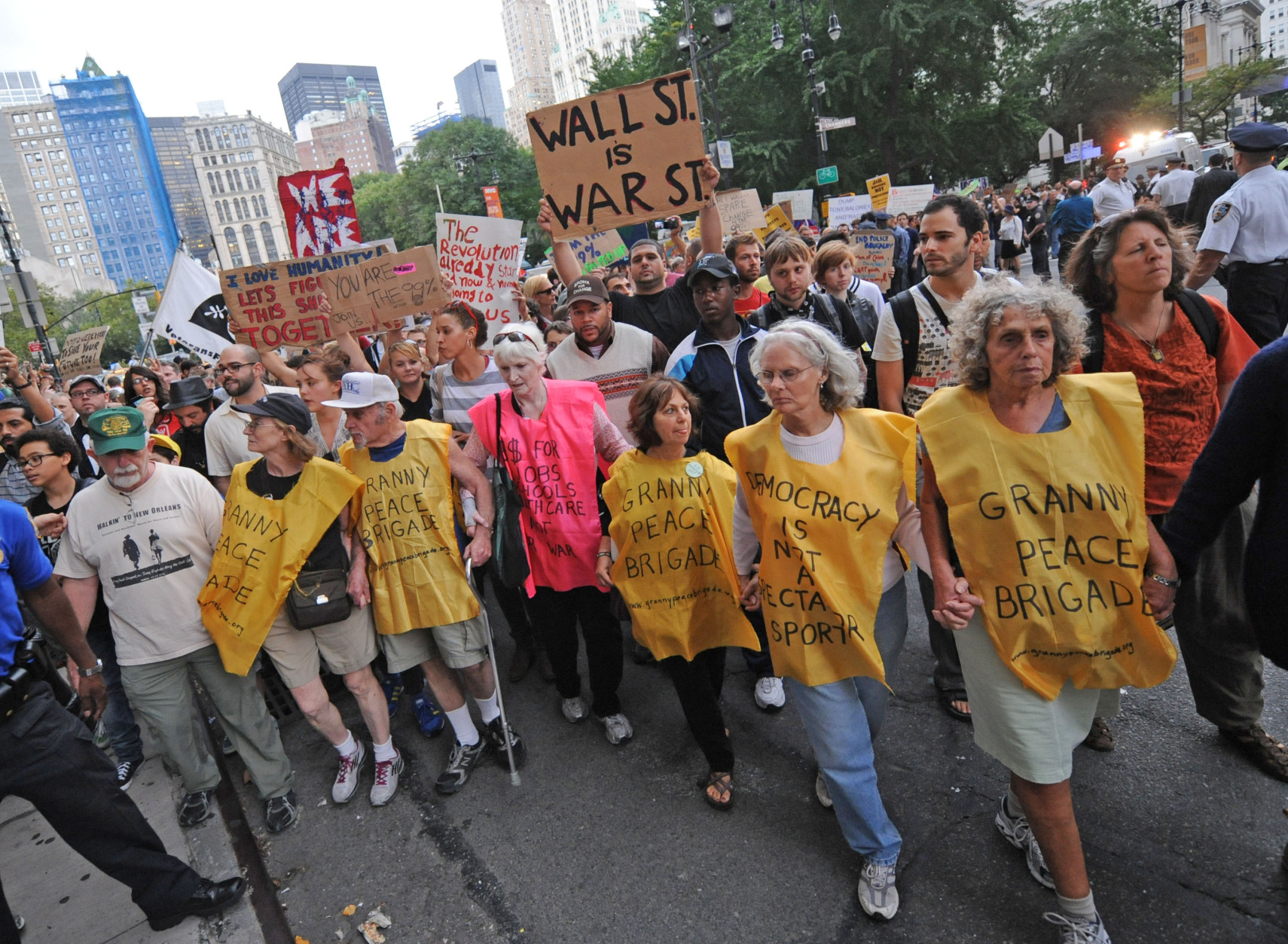 On this date in 2011, a demonstration calling itself Occupy Wall Street began in New York, prompting similar protests around the U.S. and the world. (AP Photo/ Louis Lanzano)