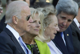 From left, Vice President Joe Biden, Jill Biden, Ethel Kennedy and Secretary of State John Kerry, wait for the arrival of Pope Francis before the state arrival ceremony on the South Lawn of the White House in Washington, Wednesday, Sept. 23, 2015. (AP Photo/Pablo Martinez Monsivais)