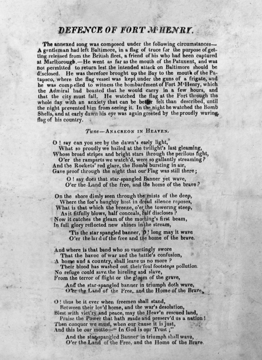 """On September 14, 1814, Francis Scott Key was inspired to write the poem """"Defence of Fort McHenry"""" after witnessing the American flag flying over the Maryland fort following a night of British bombardment during the War of 1812; the poem later became the words to """"The Star-Spangled Banner."""" This is a copy of the first published version of """"The Star-Spangled Banner,"""" one of two known to exist, acquired by the Library of Congress after it was found in an old scrapbook in the attic by Jesse Cassard of Baltimore, Md., shown on Oct. 17, 1940. (AP Photo)"""