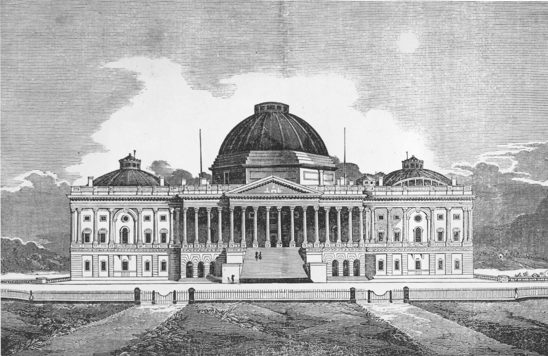 On September 18, 1793, President George Washington laid the cornerstone of the U.S. Capitol. The north and south wings, central portion and low wooden dome of the U.S. Capitol building in Washington, D.C., is shown in this illustration circa 1840.  (AP Photo)