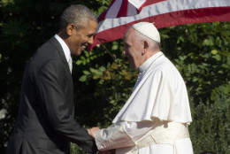 President Barack Obama shakes hands with Pope Francis during a state arrival ceremony on the South Lawn of the White House in Washington, Wednesday, Sept. 23, 2015. (AP Photo/Alessandra Tarantino)