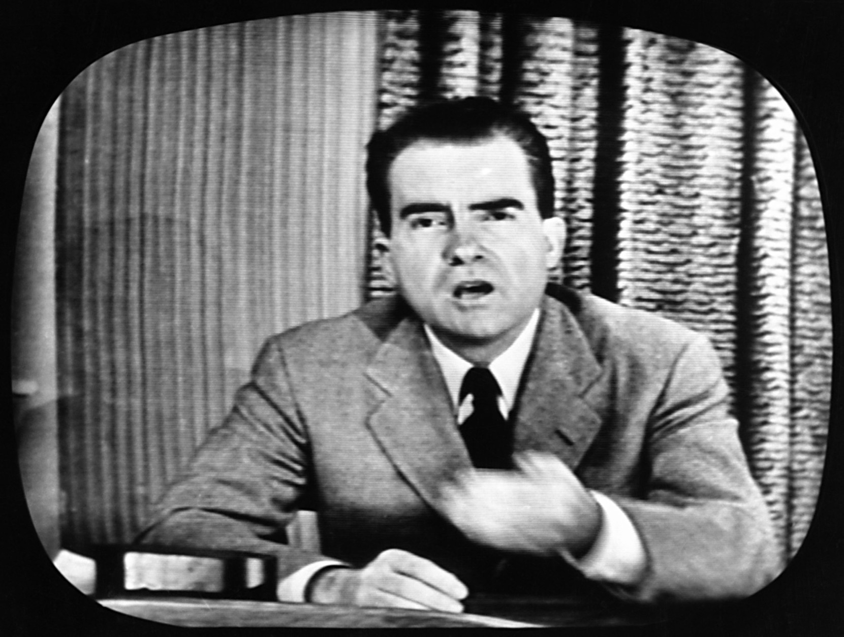 "On September 23, 1952, in what became known as the ""Checkers"" speech, Sen. Richard M. Nixon, R-Calif., salvaged his vice-presidential nomination by appearing live on television to refute allegations of improper campaign fundraising. (AP Photo)"