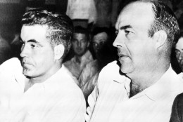 In 1955, a jury in Sumner, Mississippi, acquitted two white men, Roy Bryant and J.W. Milam, of murdering black teenager Emmett Till. The two men later admitted to the crime in an interview with Look magazine. Bryant and Milam are seen here inside the courtroom. (AP Photo)