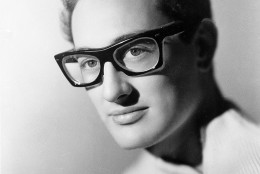 On this date in 1936, rock legend Buddy Holly was born Charles Hardin Holley in Lubbock, Texas. Here, Holly  is shown in 1959 at an unknown location.  (AP Photo)