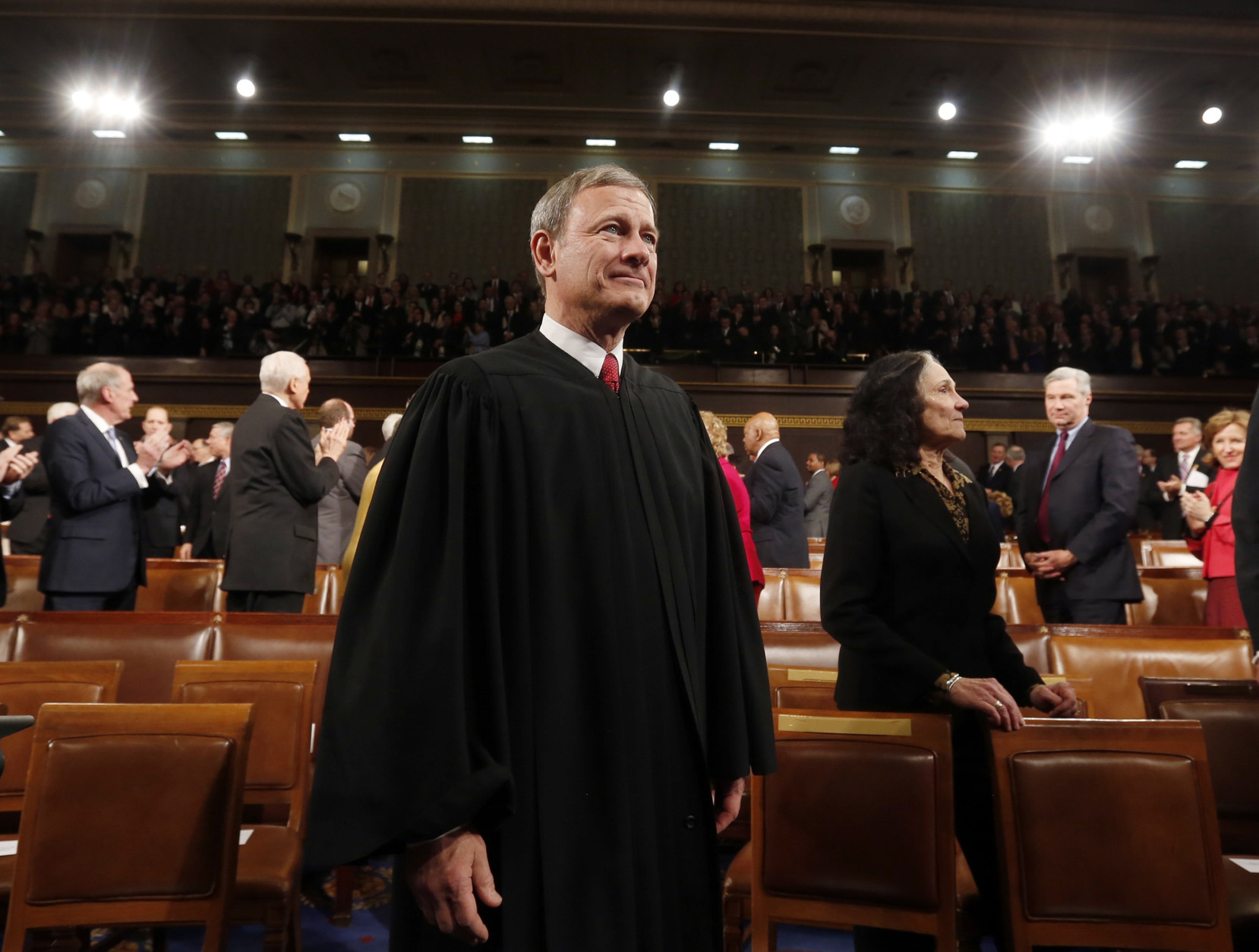 On this date in 2005, John Roberts' nomination as U.S. chief justice cleared the Senate Judiciary Committee on a bipartisan vote of 13-5.  (AP Photo/Larry Downing, Pool)