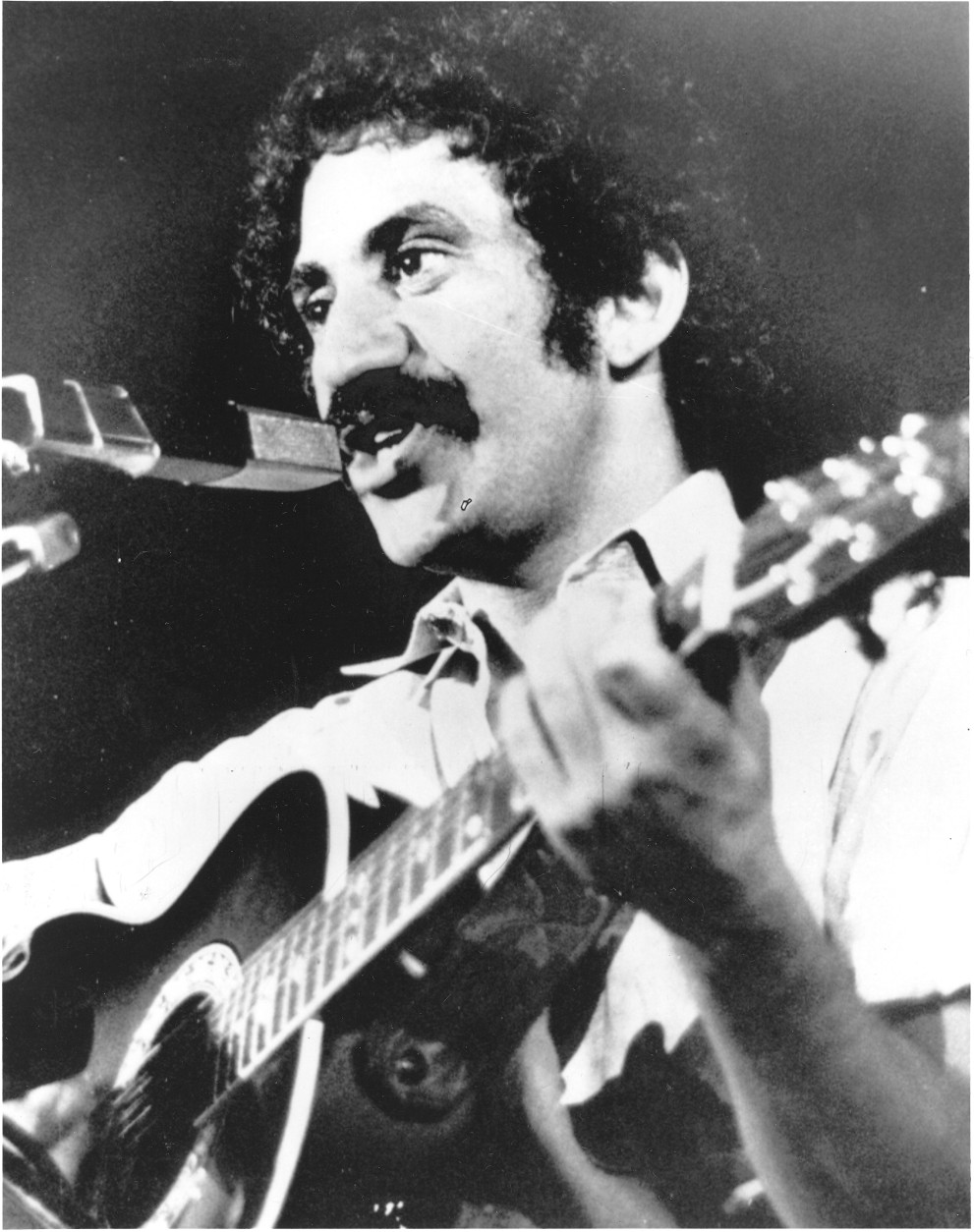Singer Jim Croce is seen as he appeared at his last performance in Natchitoches, La., Sept. 21, 1973.  After this appearance, he and five others were killed when his plane crashed near Natchitoches airport.  (AP Photo)