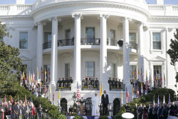 President Barack Obama and Pope Francis stand at attention during playing of the national anthems to begin the state arrival ceremony, Wednesday, Sept. 23, 2015, on the South Lawn of the White House in Washington. (AP Photo/Pablo Martinez Monsivais)