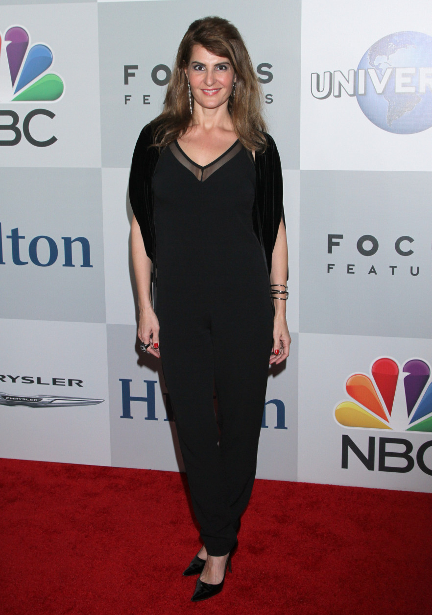 """Actress-writer Nia Vardalos (""""My Big Fat Greek Wedding"""") is 53 on Sept. 24. Here, Vardalos arrives at the NBCUniversal Golden Globes afterparty at the Beverly Hilton Hotel on Sunday, Jan. 11, 2015, in Beverly Hills, Calif. (Photo by Arnold Turner/Invision/AP)"""