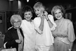 "FILE - This Dec. 25, 1985 file photo shows the stars of the television series ""The Golden Girls"" during a break in taping in Hollywood, Calif. From left are, Estelle Getty, Rue McClanahan, Bea Arthur and Betty White. Family spokesman Dan Watt says 86-year-old Bea Arthur died at home early Saturday, April 25, 2009. He says Arthur had cancer, but declined to give further details. (AP Photo/Nick Ut, File)"