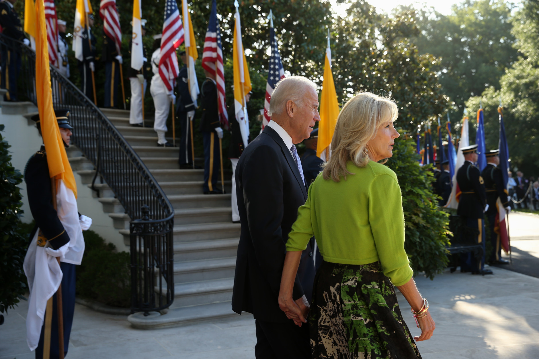 Vice President Joe Biden and his wife Jill await the arrival of Pope Francis, Wednesday Sept. 23, 2015, on the South Lawn of the White House in Washington. (AP Photo/Andrew Harnik)