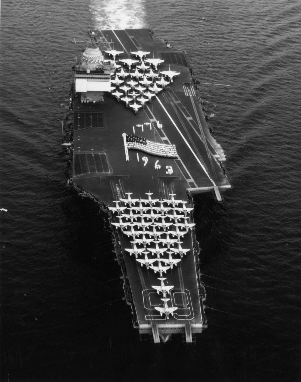 8th July 1963:  The nuclear powered aircraft carrier, USS Enterprise in the Mediterranean Sea.  (Photo by Keystone/Getty Images)