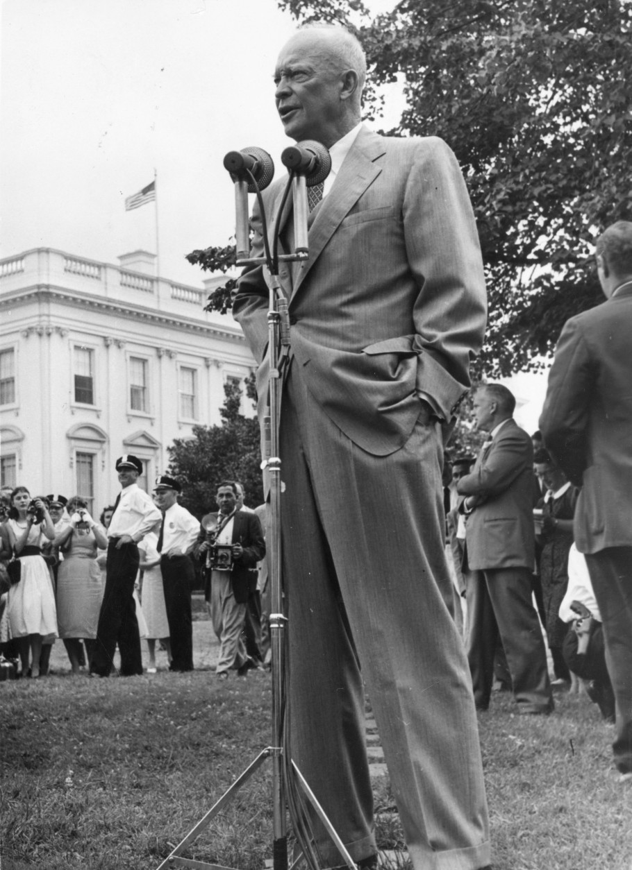 22nd July 1957:  President Dwight D Eisenhower, addressing the gathering of American Field Service Students on the lawn at the White House in Washington.  (Photo by Keystone/Getty Images)