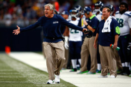 ST LOUIS, MO - SEPTEMBER 13:  Head coach Pete Carroll of the Seattle Seahawks questions a call during the game against the St. Louis Rams at Edward Jones Dome on September 13, 2015 in St Louis, Missouri.  (Photo by Jamie Squire/Getty Images)
