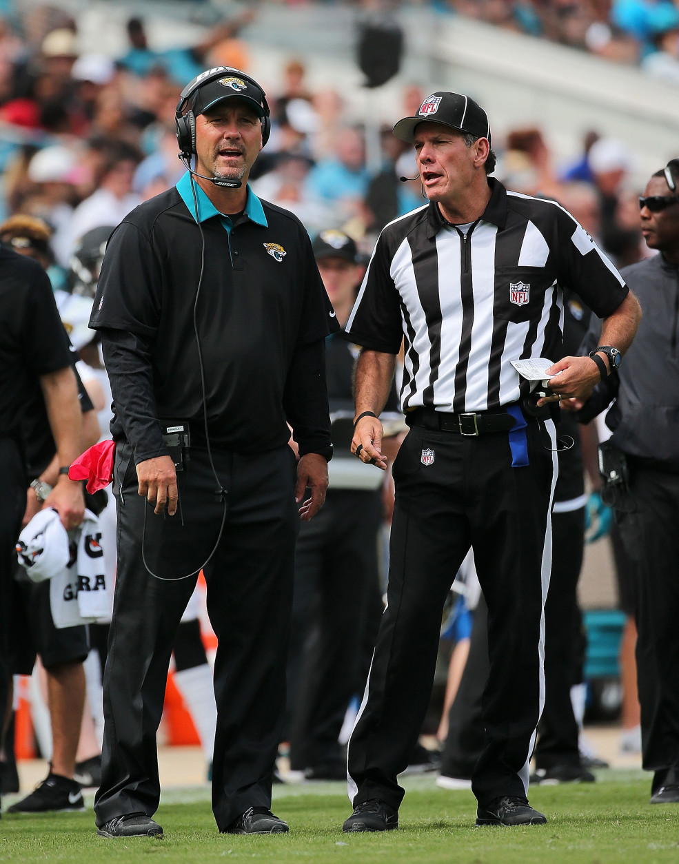 JACKSONVILLE, FL - SEPTEMBER 13: Head coach Gus Bradley of the Jacksonville Jaguars talks with a referee during a game against the Carolina Panthers at EverBank Field on September 13, 2015 in Jacksonville, Florida.  (Photo by Mike Ehrmann/Getty Images)