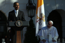 WASHINGTON, DC - SEPTEMBER 23:  U.S. President Barack Obama (L) speaks during the arrival ceremony for Pope Francis (R) at the White House on September 23, 2015 in Washington, DC. The Pope begins his first trip to the United States at the White House followed by a visit to St. Matthew's Cathedral, and will then hold a Mass on the grounds of the Basilica of the National Shrine of the Immaculate Conception.  (Photo by Win McNamee/Getty Images)