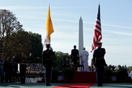 WASHINGTON, DC - SEPTEMBER 23:  Pope Francis and U.S. President Barack Obama stand for the national anthem of the Holy See during the arrival ceremony at the White House on September 23, 2015 in Washington, DC. The Pope begins his first trip to the United States at the White House followed by a visit to St. Matthew's Cathedral, and will then hold a Mass on the grounds of the Basilica of the National Shrine of the Immaculate Conception.  (Photo by Alex Wong/Getty Images)