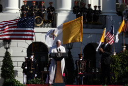 Pope Francis and U.S. President Barack Obama participate in an arrival ceremony at the White House on September 23, 2015 in Washington, DC. The Pope begins his first trip to the United States at the White House followed by a visit to St. Matthew's Cathedral, and will then hold a Mass on the grounds of the Basilica of the National Shrine of the Immaculate Conception. *** Local Caption *** Barack Obama; Pope Francis