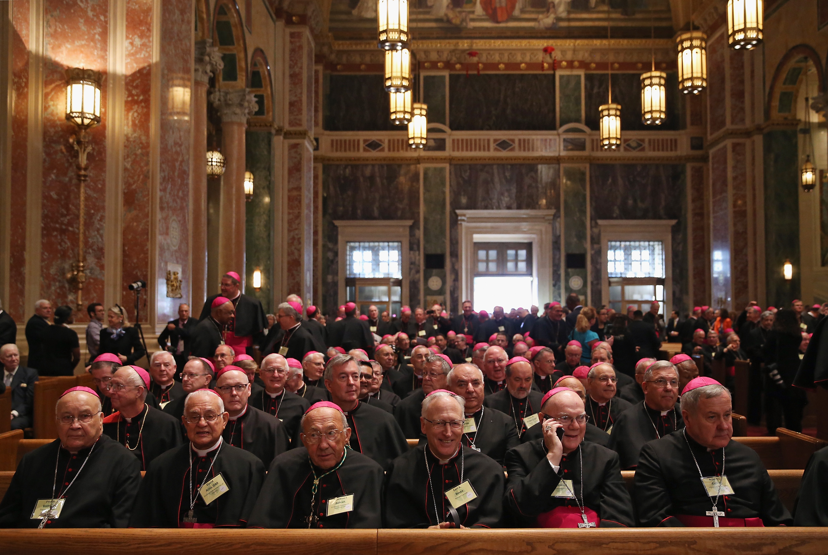 Pope prays for victims of clergy abuse during service with bishops