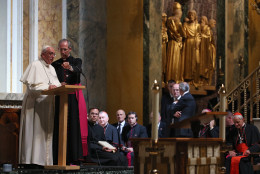 WASHINGTON, DC - SEPTEMBER 23:  Pope Francis speaks to bishops during the midday prayer service at the Cathedral of St. Matthew on September 23, 2015 in Washington, DC. The Pope began his first trip to the United States at the White House followed by a visit to St. Matthew's Cathedral, and will then hold a Mass on the grounds of the Basilica of the National Shrine of the Immaculate Conception. (Photo by Mark Wilson/Getty Images)