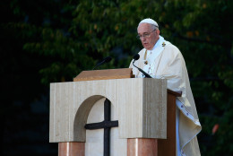 WASHINGTON, DC - SEPTEMBER 23:  Pope Francis speaks during2 the canonization Mass for Junipero Serra at the Basilica of the National Shrine of the Immaculate Conception on September 23, 2015 in Washington, DC. Junipero Serra was an 18th century Spanish Franciscan friar who founded a mission in Baja, California to bring Christianity to the indigenous population. This is the first-ever canonization by a Pope on U.S. soil. Pope Francis is on a multi-city tour on his first visit to the U.S. as Pope. (Photo by Rob Carr/Getty Images)