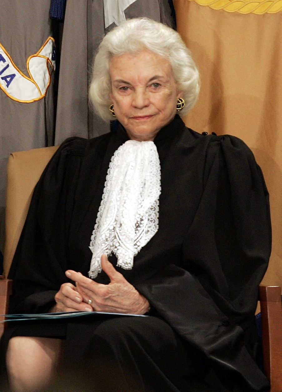 WASHINGTON - FEBRUARY 14: Associate Supreme Court Justice, Sandra Day O'Connor attends a ceremony where she formally swore in Alberto Gonzales as Attorney General at the Justice Department, February 14, 2005 in Washington, DC. Gonzales replaced former Attorney General John Ashcroft.  (Photo by Mark Wilson/Getty Images)