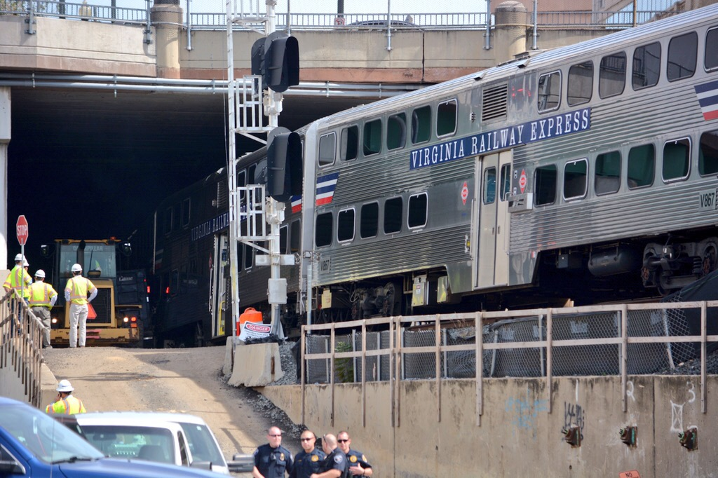 VRE train strikes dump truck in D.C.