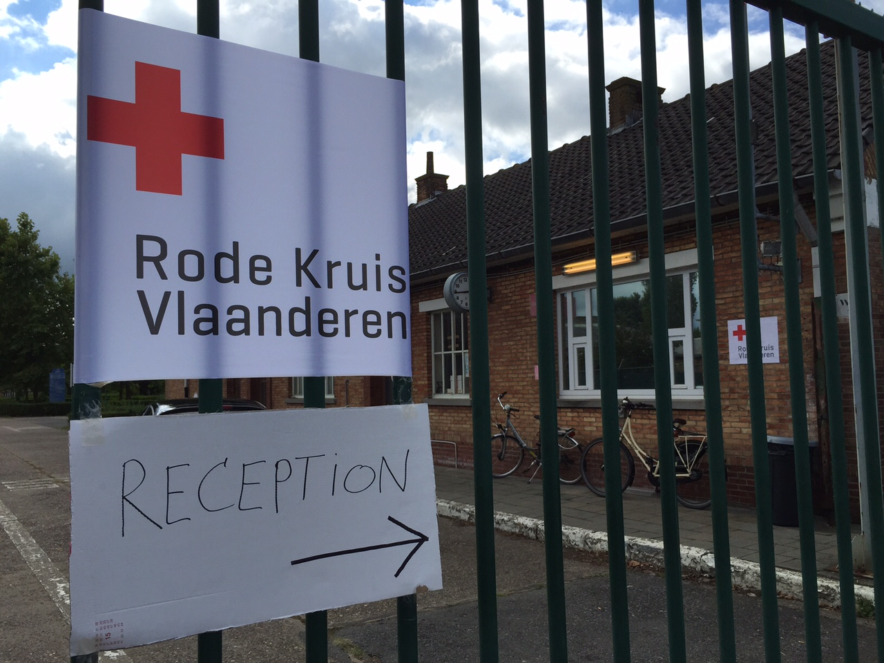 The Belgian Red Cross has set up a reception center for migrants in Sijsele. (WTOP/Kate Ryan)