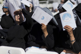 Nuns shield themselves from the sun while waiting for Pope Francis to arrive for a Mass, Wednesday, Sept. 23, 2015, outside the Basilica of the National Shrine of the Immaculate Conception in Washington. (AP Photo/David Goldman)