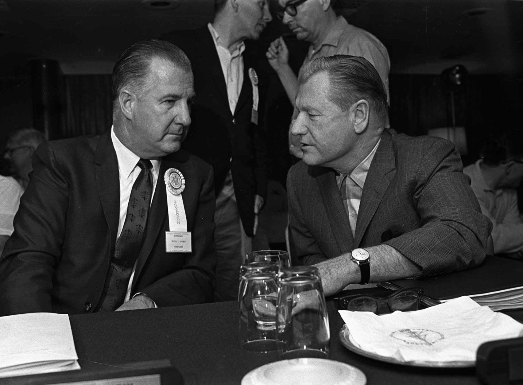 FILE--Former Maryland Governor and Vice President Spiro T. agnew, left, and Nelson A. Rockefeller chat between sessions abaord the liner Independence in this Oct. 19, 1967 file photo.  Agnew, an outspoken conservative who loved bashing the media before he resigned in disgrace as Richard Nixon's vice president over a tax-evasion scandal in 1973, died Tuesday Sept. 17, 1996. He was 77. (AP Photo/File)