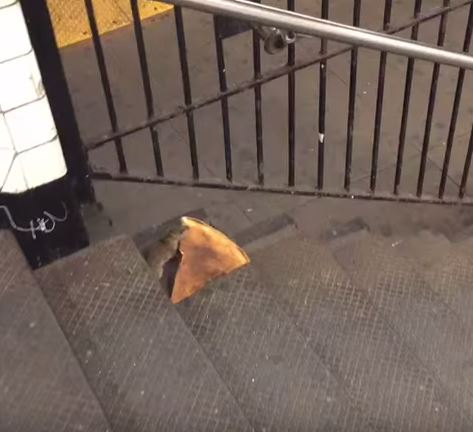 Rat struggles with slice of pizza on subway steps (Video)