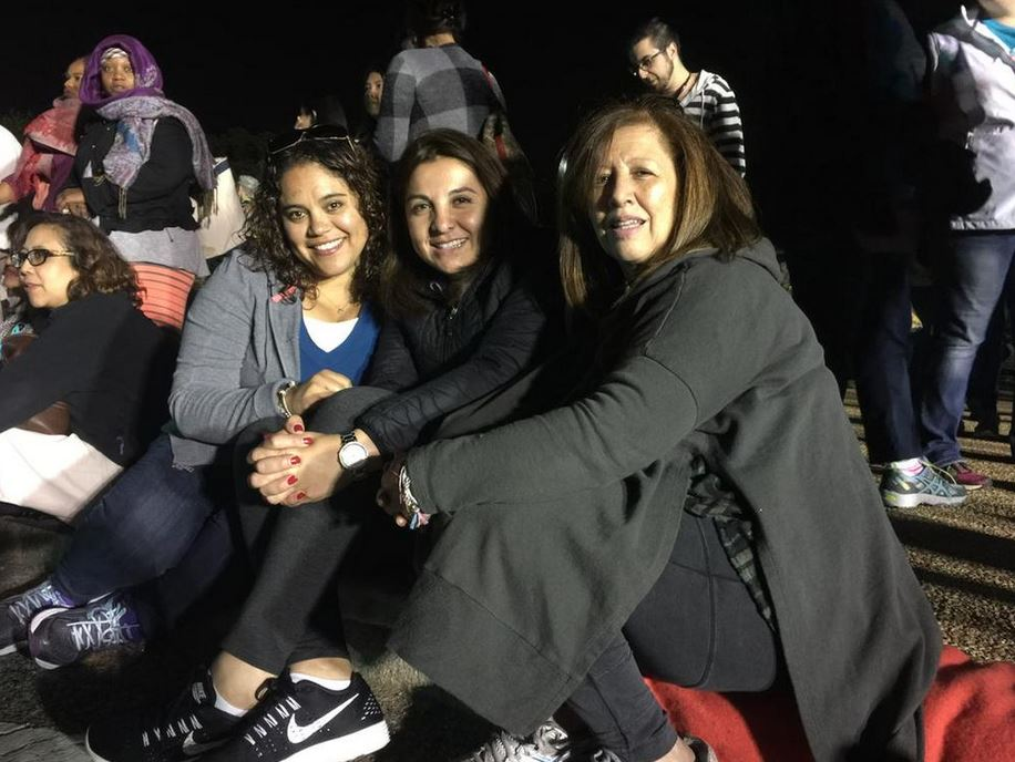 """Carla, Teresa and Dora, of Manassas, Virginia, say they are are """"excited"""" for Pope Francis. (WTOP/Kristi King)"""
