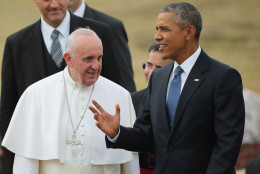 JOINT BASE ANDREWS, MD - SEPTEMBER 22:  Pope Francis is escorted by U.S. President Barack Obama after arriving from Cuba September 22, 2015 at Joint Base Andrews, Maryland. Francis will be visiting Washington, New York City and Philadelphia during his first trip to the United States as pope.  (Photo by Chip Somodevilla/Getty Images)