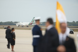 The plane carrying Pope Francis plane arrives at Andrews Air Force Base, Md., Tuesday, Sept. 22, 2015. (AP Photo/Andrew Harnik)