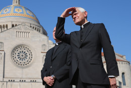 WASHINGTON, DC - SEPTEMBER 17:  Washington Archbishop Cardinal Donald Wuerl holds a news conference where Pope Francis will celebrate Mass for 25,000 people on the east portico of the Basilica of the National Shrine of the Immaculate Conception at the Catholic University of America September 17, 2015 in Washington, DC. Francis will begin his visit in the United States with a three-day stop in Washington during which time he will visit Congress, the White House and celebrate the Mass at the basilica.  (Photo by Chip Somodevilla/Getty Images)