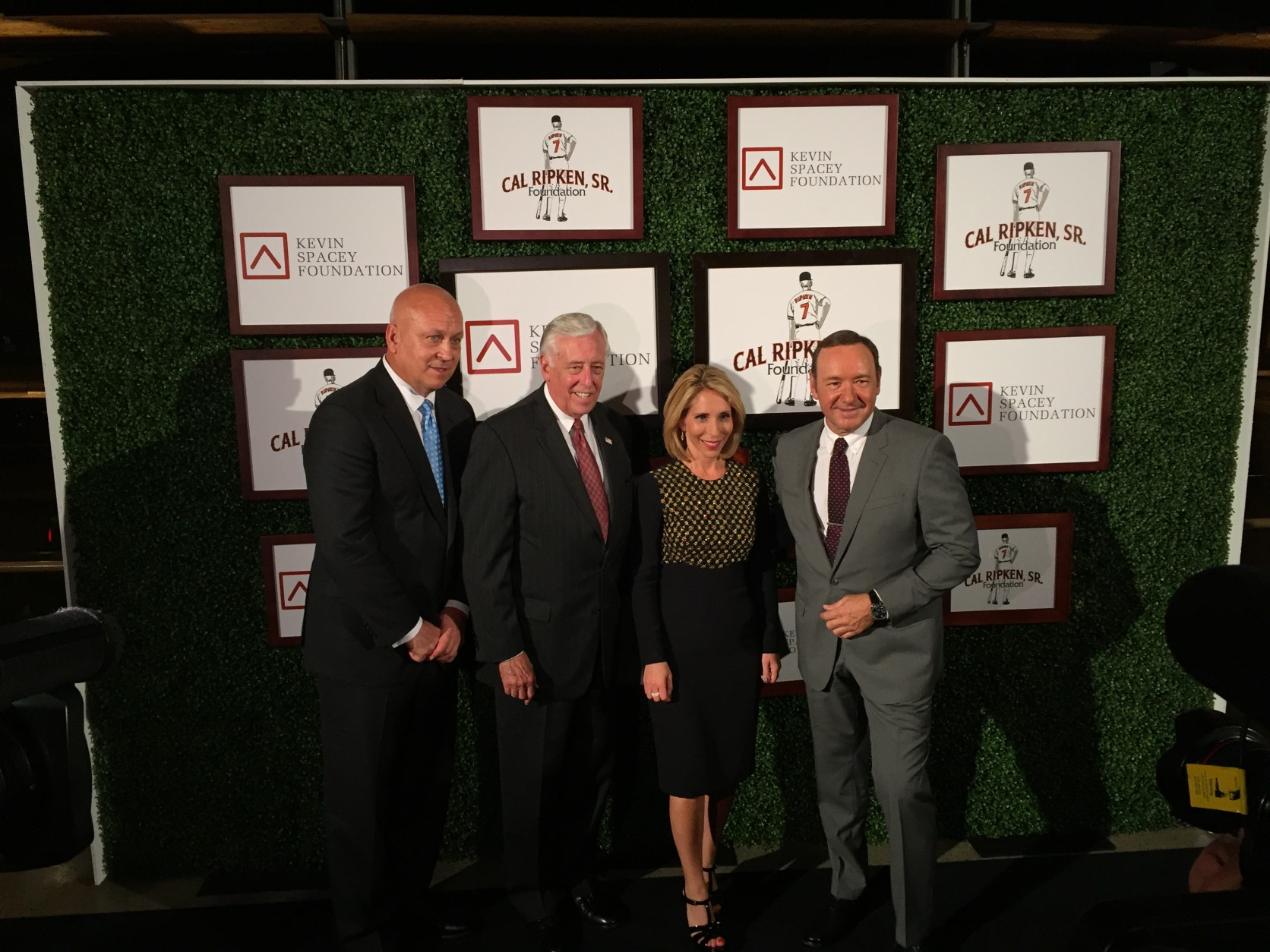 Cal Ripken, Jr., Congressman Steny Hoyer, CNN's Dana Bash -- who hosted the event -- and Kevin Spacey are seen here at the Monday night event. (WTOP/Michelle Basch)