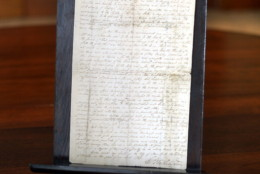 George  Washington's original 1789 proclamation establishing the first Thanksgiving Day  is seen on display at Christie's New York October 3, 2013. The document, signed by the first president, will be sold November 14 at Christie's. The only other known copy of the proclamation is at the Library of Congress in Washington, the auction house said. The proclamation, which set the first national day of thanksgiving for Thursday, November 26, 1789, is estimated to sell for $8 million to $12 million USD. It's being sold by a private American collector.   AFP PHOTO / TIMOTHY CLARY        (Photo credit should read TIMOTHY CLARY/AFP/Getty Images)