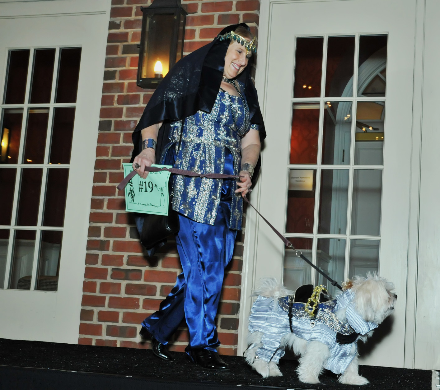 Mary dressed as a princess; Benji, her Shitzu Maltese, dressed as an elephant. (Shannon Finney Photography)