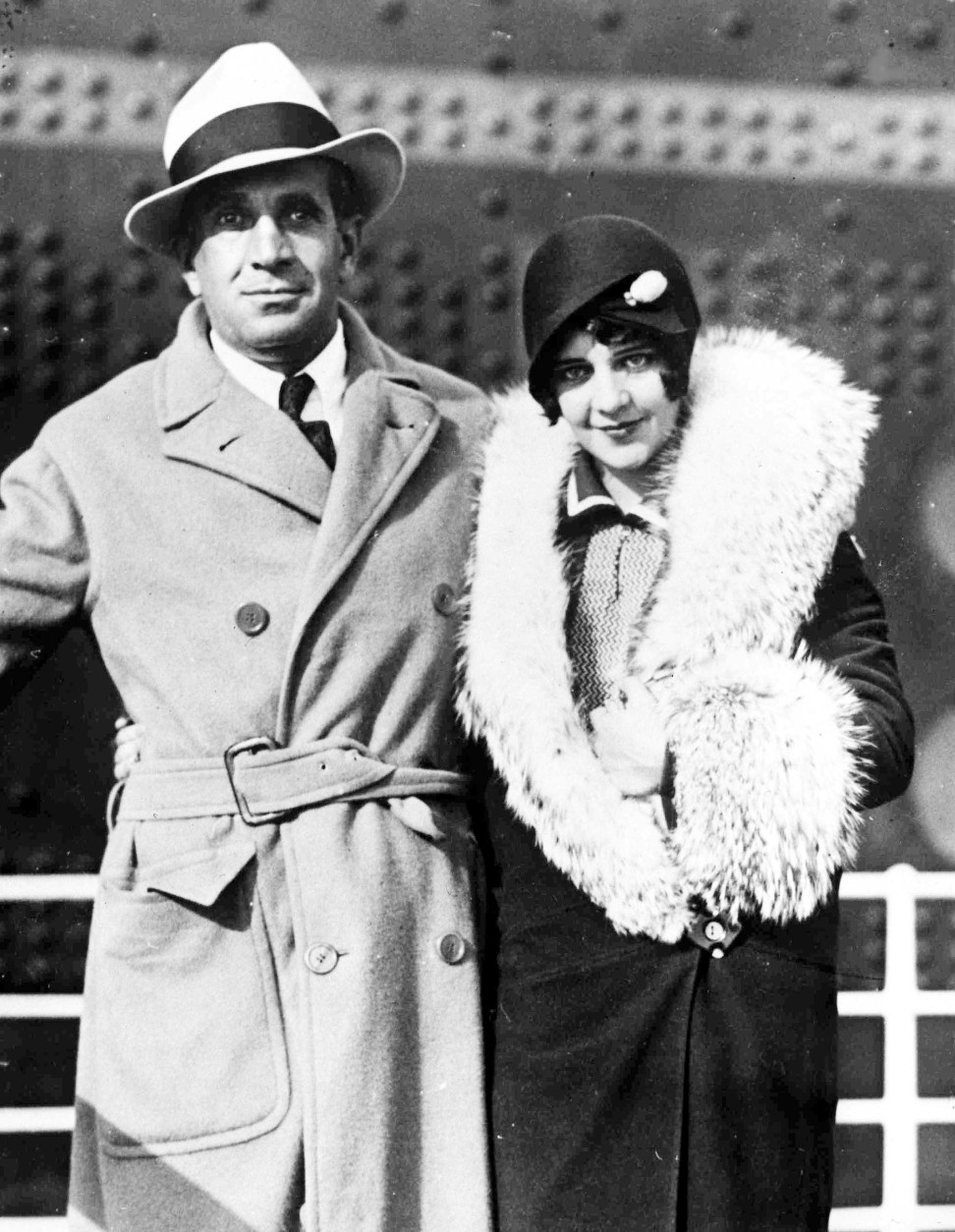 American actor and singer Al Jolson with his wife Ruby after their arrival at Cherbourg Harbour, France, on Aug. 29, 1928. (AP Photo)