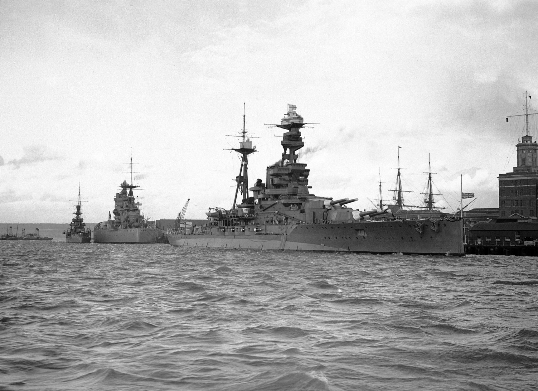 The HMS Royal Oak at anchor in Portsmouth, England on Nov. 23, 1938 carrying the coffin containing the body of Queen Maud for conveyance to Norway. Behind her is the HMS Rodney, and the Ark Royal. (AP Photo)