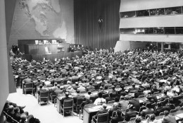 Every seat in the United Nations General Assembly is filled as President Harry S. Truman addresses the assembly at Flushing Meadow, New York, Oct. 24, 1950 on the fifth anniversary of the U.N. charter. (AP Photo)