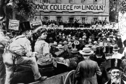 Knox College displays its banner supporting presidential candidate Abraham Lincoln as he speaks before a crowd during his fifth debate with Sen. Stephen A. Douglas in Galesburg, Ill., on Oct. 7, 1858.   Artist Victor Perard drew this sketch of Old Main, the central building on the Knox College campus.  (AP Photo)