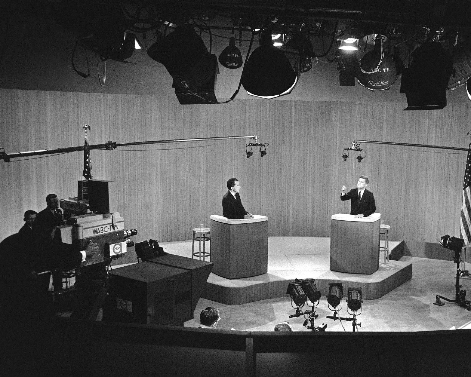Television debates were an innovation in the 1960 U.S. Presidential campaign. Sen. John F. Kennedy and Vice-President Richard M. Nixon as they appeared in the fourth and final of these debates in New York City, Dec. 8, 1960. (AP Photo)