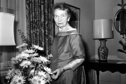 Margaret Sanger, advocate of birth control, is shown at New York's Waldorf Astoria hotel, May 10, 1961.   (AP Photo)