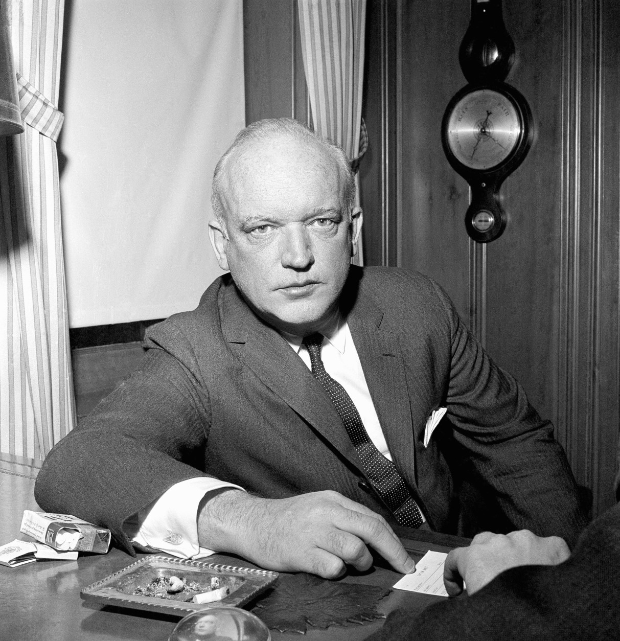 James Britt Donovan, Brooklyn attorney who negotiated the U.S.- Soviet prisoner swap, talks with newsmen in his Brooklyn, N.Y., apartment on Feb. 11, 1962. He said the only American known to be behind bars still in the Soviet Union, Marvin Makinen of Ashburnham, Mass., may soon be released. (AP Photo/Marty Lederhandler)