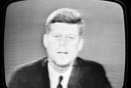 President John F. Kennedy as he appeared on a television set in New York City  Oct. 22, 1962 informing the American people of his decision to set up a naval blockade against Cuba. (AP Photo)