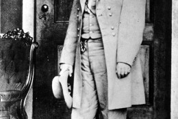 Gen. Robert E. Lee poses on the back porch of the Lee house in Richmond, Va., in 1865.  Lee, who led the Confederate forces, surrendered his army at Appomattox Court House on April 9.  (AP Photo/Mathew B. Brady)