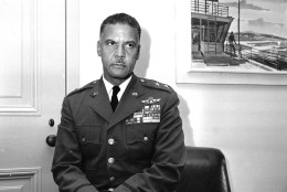 Gen. Benjamin O. Davis Jr., poses in his Pentagon office in Washington, D.C., April 16, 1965.  President Lyndon Johnson has nominated Davis for promotion to Lieutenant General in the Air Force and picked him to be chief of staff of U.S. forces and of the United Nations command in Korea.  Davis, 52, is the first black American to reach lieutenant general rank in the U.S. military.  (AP Photo)
